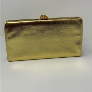 Handbags - Gold Metallic Vintage Clutch with Shoulder Chain